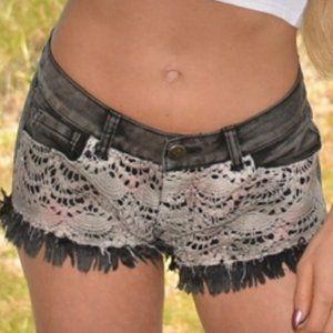 Crochet detail denim shorts